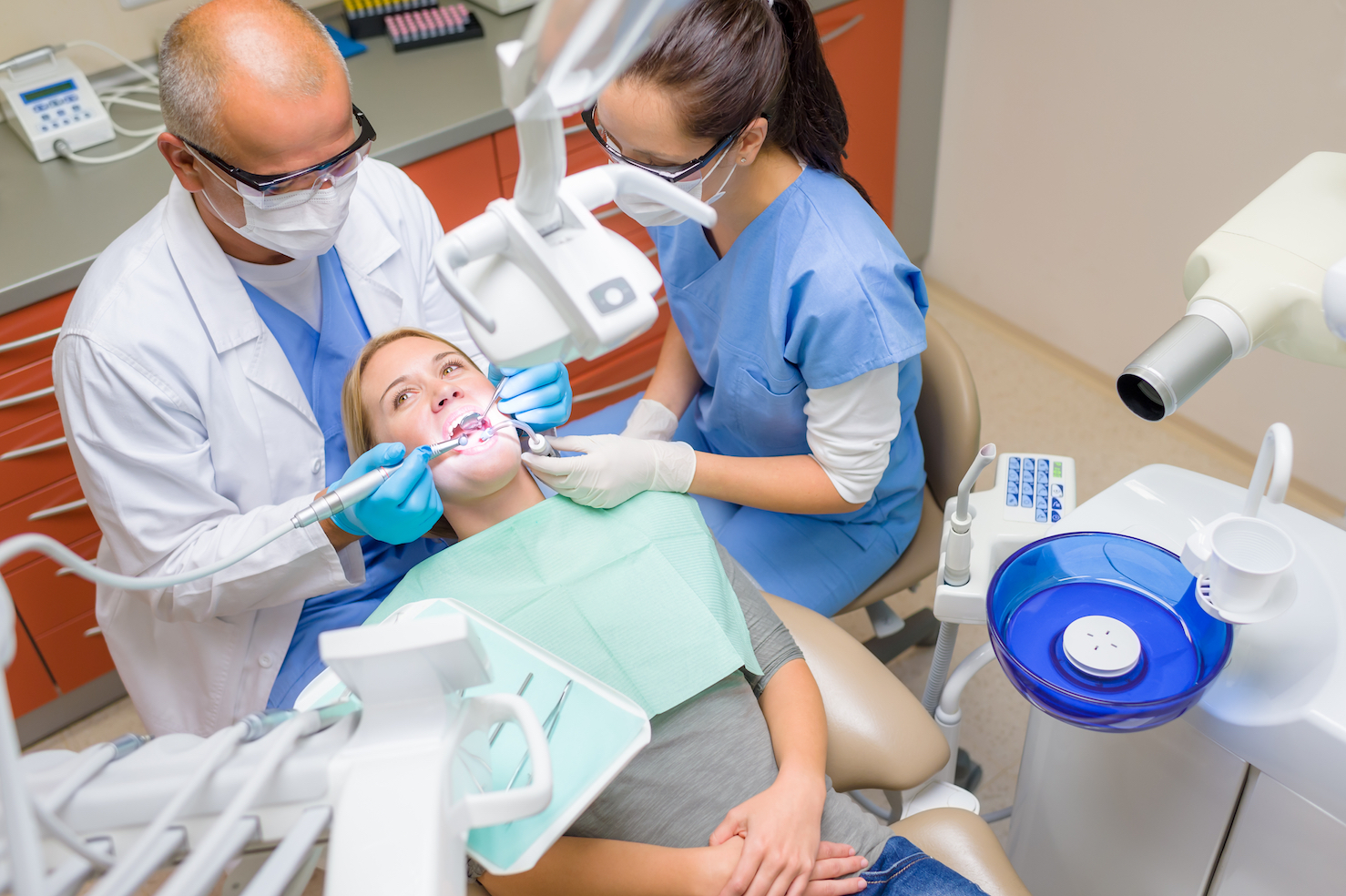 Dental procedure dentist care female patient